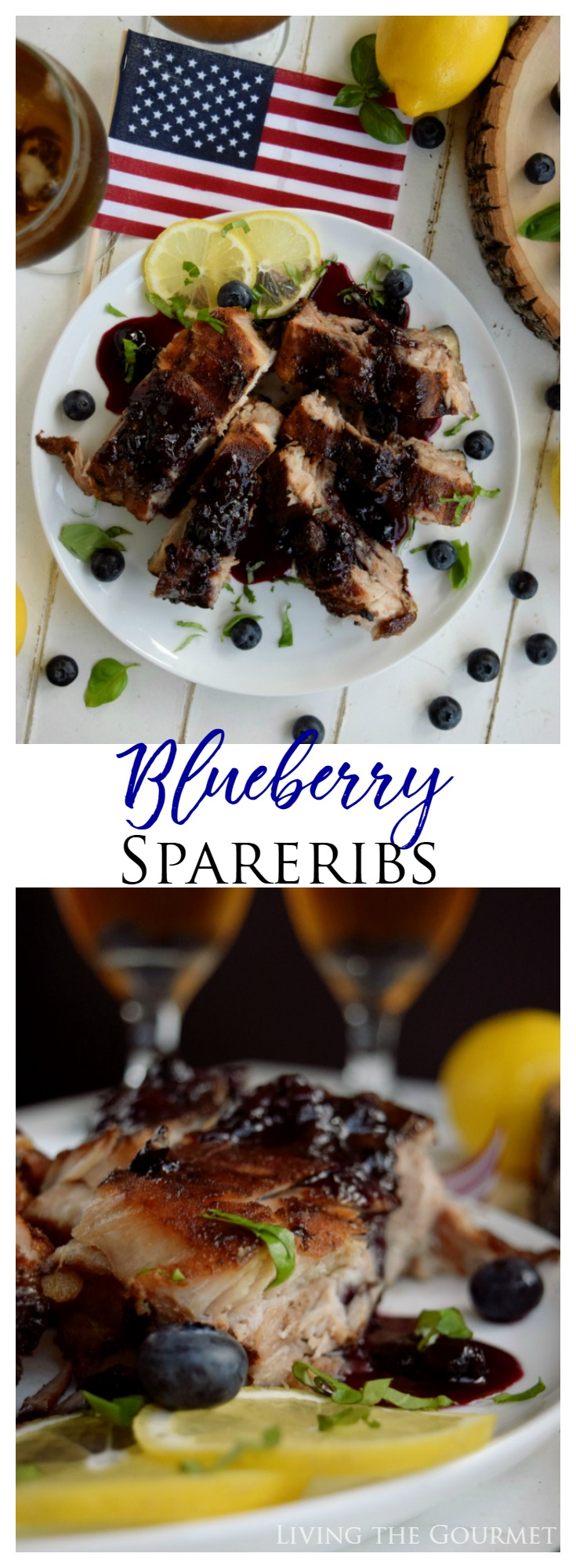 New on Living the Gourmet: Blueberry Spareribs  | Kick up your summer grilling with this sweet blueberry bbq sauce served over extra tender back ribs! #GetGrillingAmerica #ad