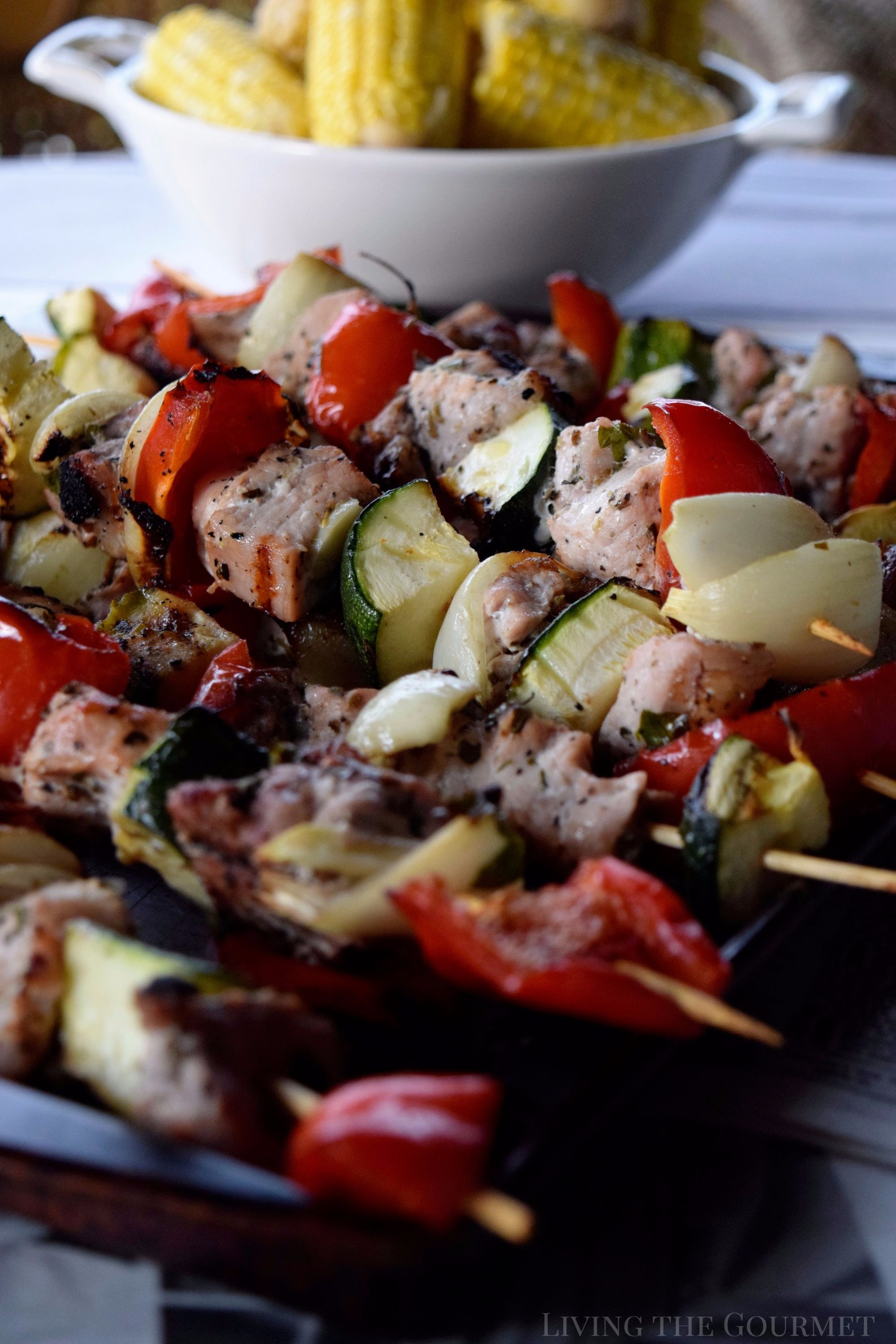 Living the Gourmet: Flame grilled Pork and Veggie Kabobs are a perfect way to enjoy the season's harvest!