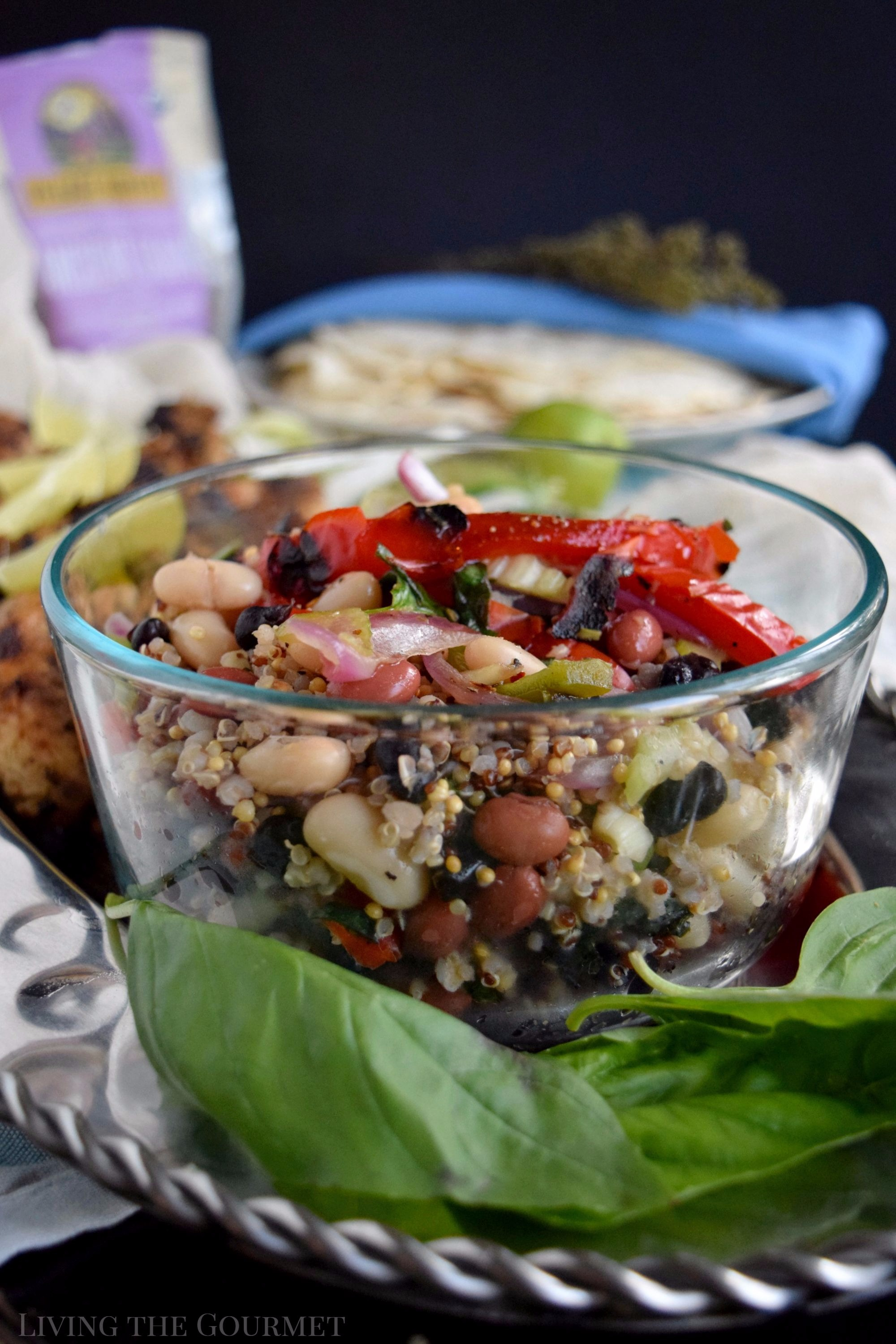 Living the Gourmet: Packed with protein, fiber, and nutrients, this Ancient Grains Three Bean Salad is served with Grilled Chicken for hearty, healthy summer meal. #vhblends #clvr