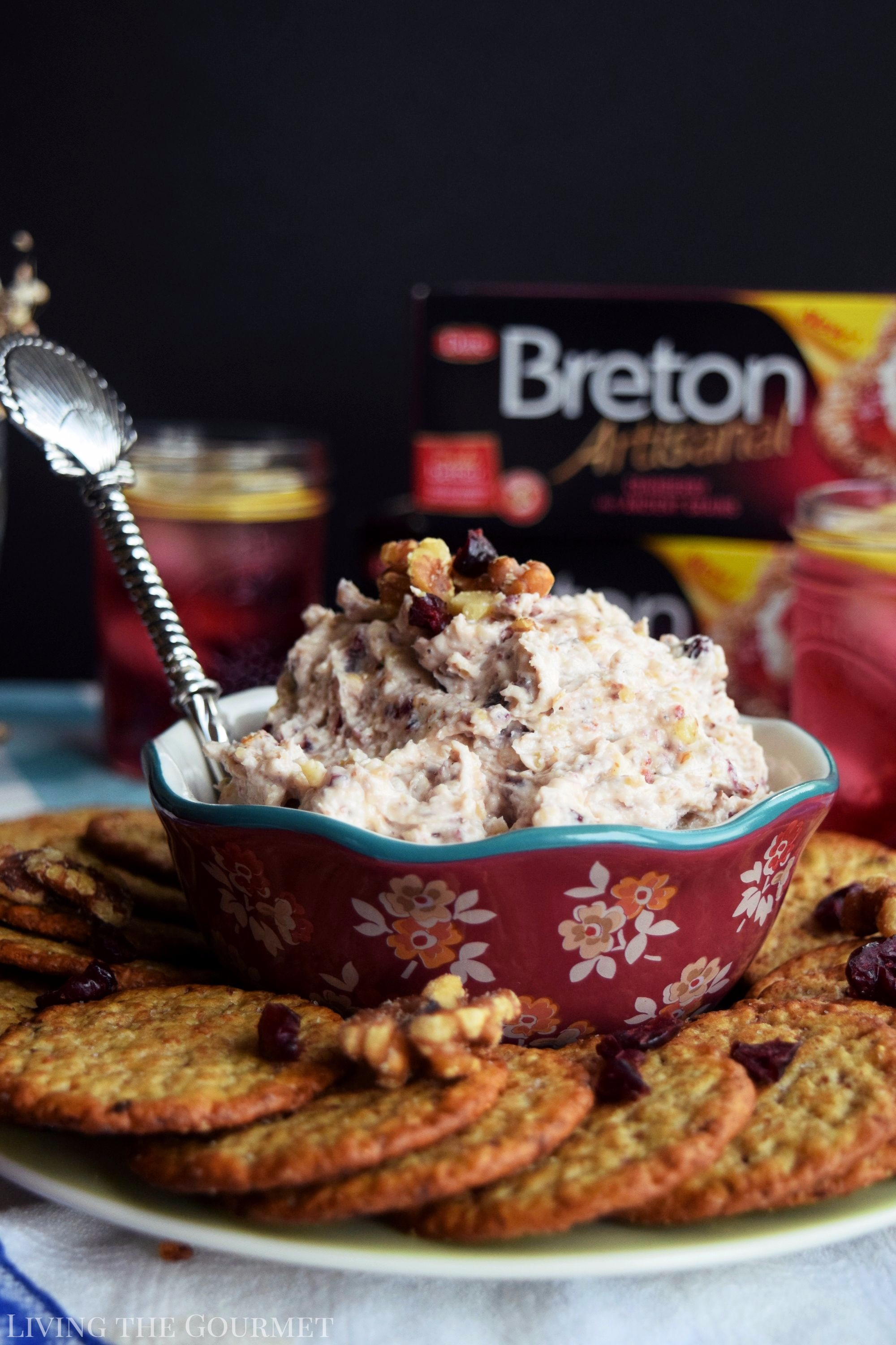 Living the Gourmet: This Cranberry, Walnut and Honey Spread is a perfect send off to summer. It is a light, delicious spread that evokes the flavors of the Fall season. #BetterWithBreton #ad