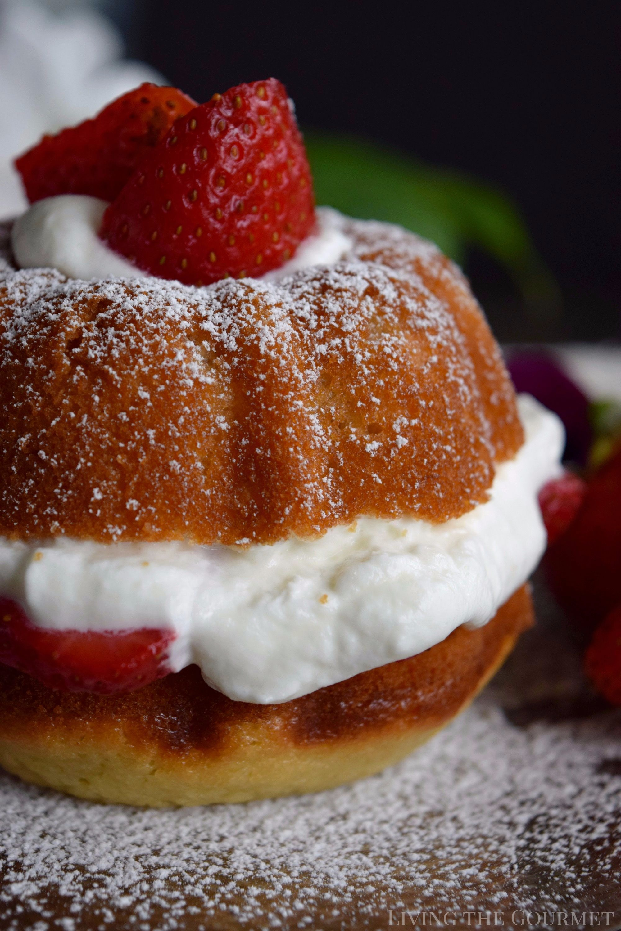 Living the Gourmet: Enjoy the final moments of summer with these Strawberries and Cream Naked Bundt Cakes. Fresh cream and sliced strawberries are layered between a moist, vanilla strawberry cake. #BundtBakers