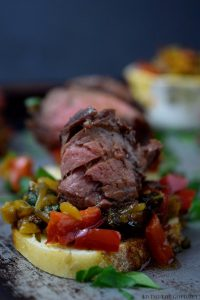 Skirt Steak Appetizers with Bell Pepper Relish