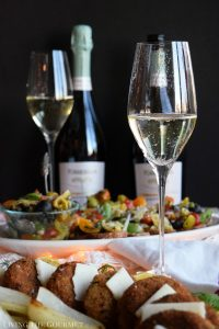 Crab Cakes, Crostini, and Torresella Prosecco