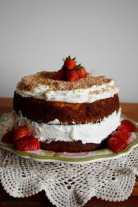 Butter Cake with Citrus Rum Syrup and White Chocolate Mascarpone Frosting