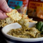 Eggplant Dip with Hello Delicious! Brands Pizza Chips