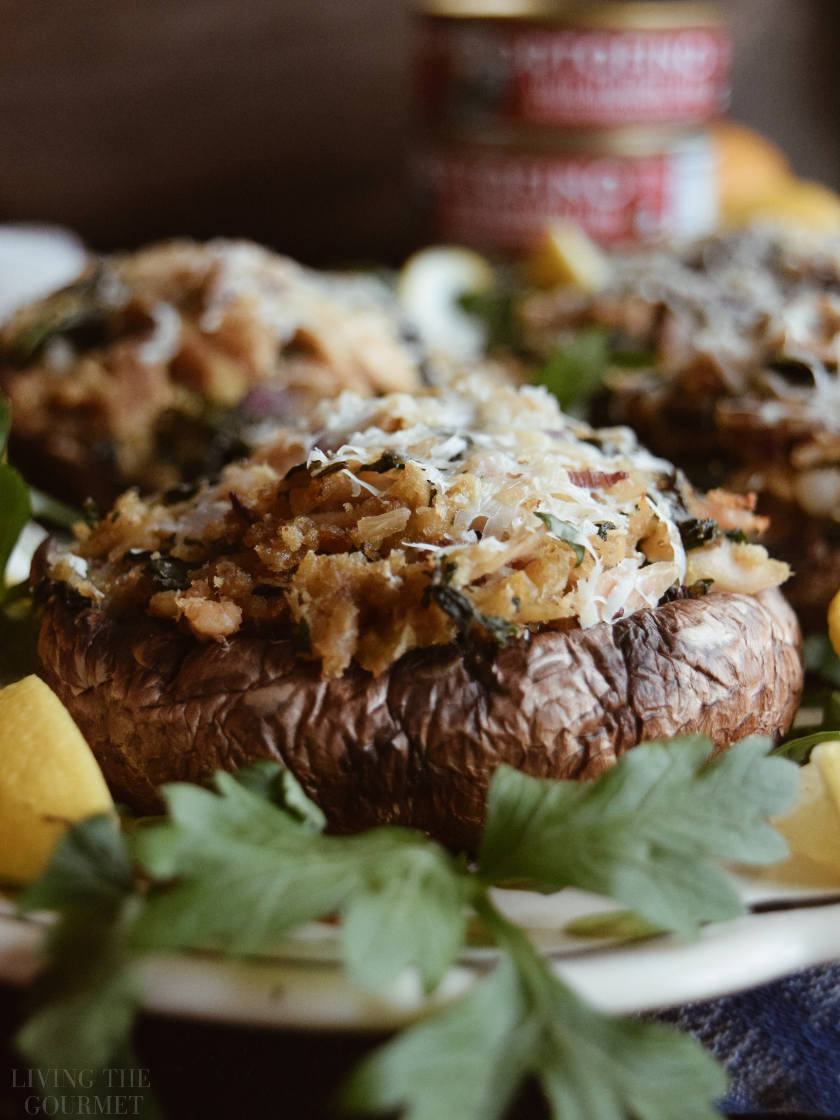 Mediterranean Style Tuna Stuffed Mushrooms Living The Gourmet