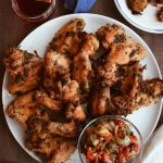 Mediterranean Style Chicken Wings with Grilled Onion & Pepper Chutney