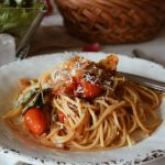 Vidalia Onions with Grape Tomatoes and Spaghetti