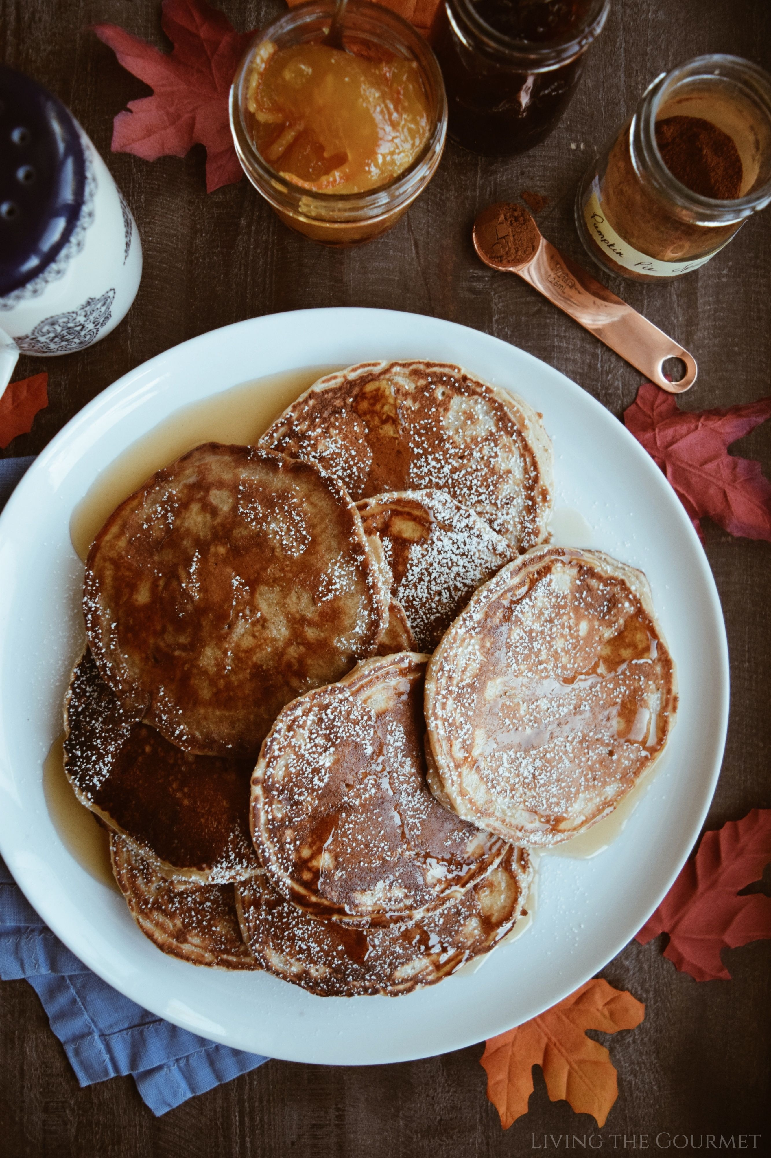 Diner Style Pancakes With Pumpkin Spice Maple Syrup Living The Gourmet