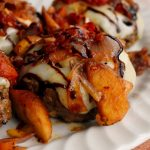 Curried Cheeseburgers with Sauteed Apple & Tomato Sauce