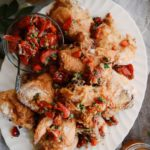 Oven Fried Chicken with Tomato & Caper Chutney