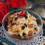 Vanilla Pudding with Rum Sauce